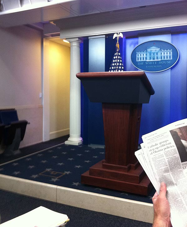 "<div class=""meta ""><span class=""caption-text "">I'm in the White House briefing room. We will be talking to the President in about 90 minutes. I will also talk to Department of Transportation Secretary Ray LaHood and Department of Homeland Security Janet Napolitano.  </span></div>"