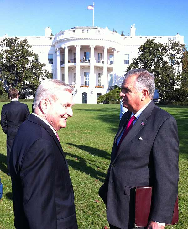 I'm talking with Department of Transportation Secretary Ray LaHood. Light and High speed rail is what he wants to see come to Texas.