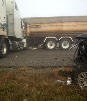 Jack-knifed semi that hit Damien Ortiz&#39;s mother&#39;s vehicle. Both of them suffered only minor injuries <span class=meta>(KTRK Photo)</span>