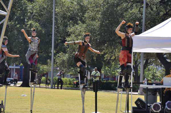 "<div class=""meta image-caption""><div class=""origin-logo origin-image ""><span></span></div><span class=""caption-text"">Wise Fool New Mexico, a nationally acclaimed performance troupe, presented ""Flexion"", an outdoor aerial and stilt movement spectacle in  at Discovery Green on Thursday. (Photo/ABC13)</span></div>"