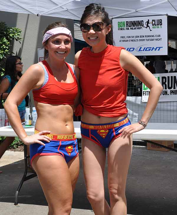The first Hot Undies Run was held in Rice Village on Saturday, August 21, 2010.   About 500 good sports stripped to their skivvies and braved the extreme Houston heat for a good cause, raising money for the Children's Tumor Foundation.  The two mile course through Rice University began at Brian O'Neill's Irish Pub, ending at nearby Little Woodrow's.