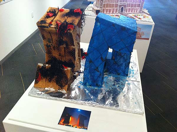 "<div class=""meta ""><span class=""caption-text "">The winners of the Second Annual Gingerbread Build-Off are on display at the Architecture Center Houston in this incredible seasonal exhibition of talent.  This entry depicts CCTV and TVCC on fire. (KTRK Photo/ Adela Uchida)</span></div>"