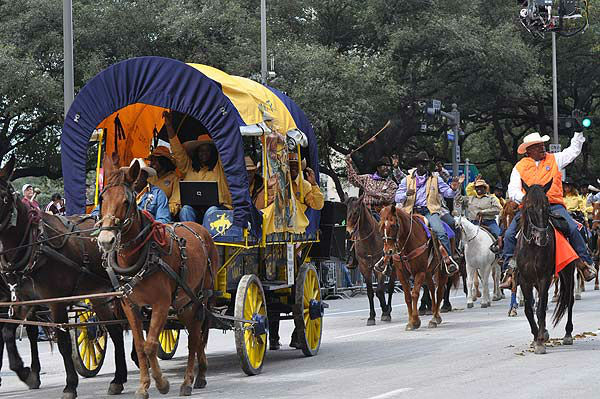 The Downtown Rodeo Parade filled the streets of Houston with horses, wagons, music and smiles on Saturday, February 23, 2013.  The parade welcomed the trail riders in grand fashion with marching bands and floats in a celebration of Western heritage, all just before the Houston Livestock Show and Rodeo. <span class=meta>(KTRK Photo&#47; Gina Larson)</span>