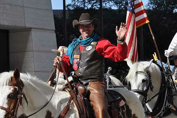 "<div class=""meta image-caption""><div class=""origin-logo origin-image ""><span></span></div><span class=""caption-text"">The Downtown Rodeo Parade filled the streets of Houston with horses, wagons, music and smiles on Saturday, February 23, 2013.  The parade welcomed the trail riders in grand fashion with marching bands and floats in a celebration of Western heritage, all just before the Houston Livestock Show and Rodeo. (KTRK Photo/ Gina Larson)</span></div>"