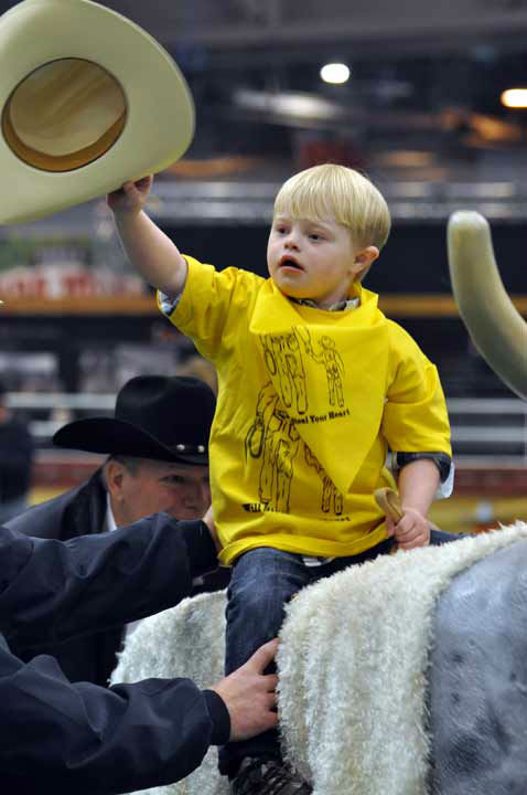 Some very special children took center stage at the Main Arena in Reliant Center during the Houston Livestock Show and Rodeo on Thursday, February 28, 2013 for the Lil&#39; Rustlers Rodeo.  The children rode horses, visited newborn animals, and tried their hand at roping and riding in activities designed especially for them, with the help of volunteer cowboys and cowgirls, clowns and the members of the Special Children&#39;s Committee. <span class=meta>(KTRK Photo&#47; Gina Larson)</span>