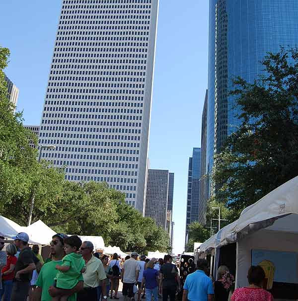 "<div class=""meta ""><span class=""caption-text "">The streets of downtown were filled with beauty as the Bayou City Art Festival was held October 9 & 10, 2010.  The downtown skyline served as a dramatic backdrop for art, music, dance, and interactive activities at the Bayou City Art Festival Downtown.  The annual fine art event boasts an outdoor gallery brimming with 300 artists working in 19 artistic media. Adding to the festive outdoor gallery are wine cafés, the interactive Capital One Creative Zone for children, restaurants and a performing arts stage with on-going multicultural musical and dance entertainment presented by The Houston Arts Alliance.  The festival is showcased in front of City Hall and around Hermann Square on the streets of Walker, Bagby,and McKinney, as well as Sam Houston Park.For more information about the Bayou City Art Festival Downtown, visit BayouCityArtFestival.com. (KTRK Photo)</span></div>"