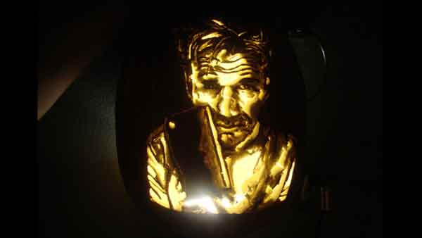 Marsha Roberts has been carving celebrity pumpkins for this Halloween. So far, she has carved 16 but plans to make a dozen more before Halloween. The Missouri City resident has a large display of them in her yard. This one depicts Chef Gordon Ramsay. <span class=meta>(Photo&#47;Marsha Roberts)</span>