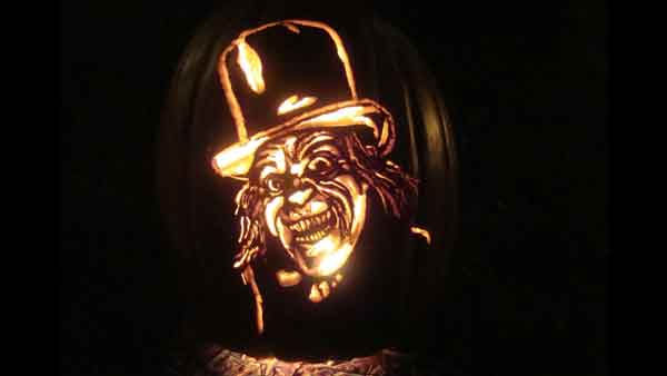 Marsha Roberts has been carving celebrity pumpkins for this Halloween. So far, she has carved 16 but plans to make a dozen more before Halloween. The Missouri City resident has a large display of them in her yard. This one depicts London After Midnight. <span class=meta>(Photo&#47;Marsha Roberts)</span>