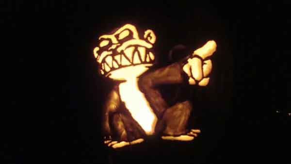 Marsha Roberts has been carving celebrity pumpkins for this Halloween. So far, she has carved 16 but plans to make a dozen more before Halloween. The Missouri City resident has a large display of them in her yard. This one depicts the Evil Monkey. <span class=meta>(Photo&#47;Marsha Roberts)</span>