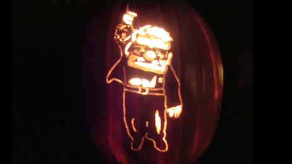 "<div class=""meta ""><span class=""caption-text "">Marsha Roberts has been carving celebrity pumpkins for this Halloween. So far, she has carved 16 but plans to make a dozen more before Halloween. The Missouri City resident has a large display of them in her yard. This one depicts Carl Fredrickson. (Photo/Marsha Roberts)</span></div>"
