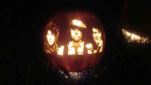 "<div class=""meta ""><span class=""caption-text "">Marsha Roberts has been carving celebrity pumpkins for this Halloween. So far, she has carved 16 but plans to make a dozen more before Halloween. The Missouri City resident has a large display of them in her yard. This one depicts the Jonas Brothers. (Photo/Marsha Roberts)</span></div>"