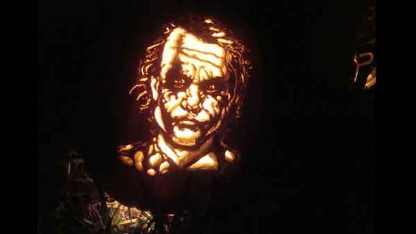 "<div class=""meta ""><span class=""caption-text "">Marsha Roberts has been carving celebrity pumpkins for this Halloween. So far, she has carved 16 but plans to make a dozen more before Halloween. The Missouri City resident has a large display of them in her yard. This one depicts The Joker. (Photo/Marsha Roberts)</span></div>"