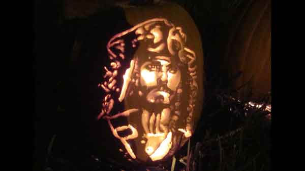 "<div class=""meta ""><span class=""caption-text "">Marsha Roberts has been carving celebrity pumpkins for this Halloween. So far, she has carved 16 but plans to make a dozen more before Halloween. The Missouri City resident has a large display of them in her yard. This one depicts  Capt. Jack Sparrow. (Photo/Marsha Roberts)</span></div>"