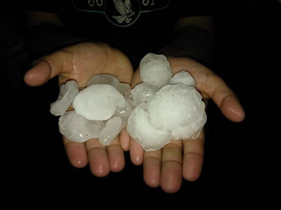 This is a photo of hail that fell on Wednesday in parts of the viewing area. It was sent to us by a viewer through our iWitness Reports. If you have hail photos or videos, email them to us at news@abc13.com or upload it here