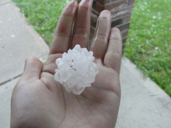 This is a photo of hail that fell on Wednesday in parts of the viewing area. It was sent to us by a viewer through our iWitness Reports. If you have hail photos or videos, email them to us at news@abc13.com or upload it here <span class=meta>(Photo&#47;iWitness Reports)</span>