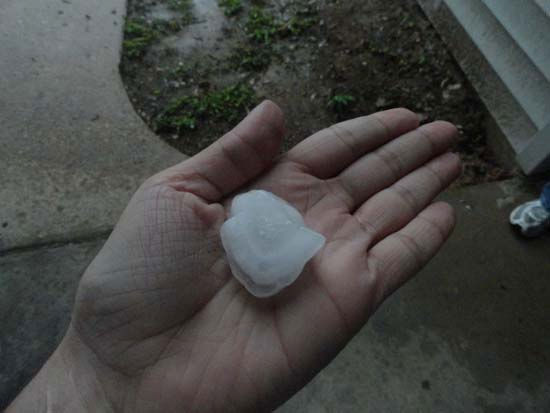 "<div class=""meta image-caption""><div class=""origin-logo origin-image ""><span></span></div><span class=""caption-text"">This is a photo of hail that fell on Wednesday in parts of the viewing area.  It was sent to us by a viewer through our iWitness Reports.  If you have hail photos or videos, email them to us at news@abc13.com or upload it here. (Photo/iWitness Reports)</span></div>"