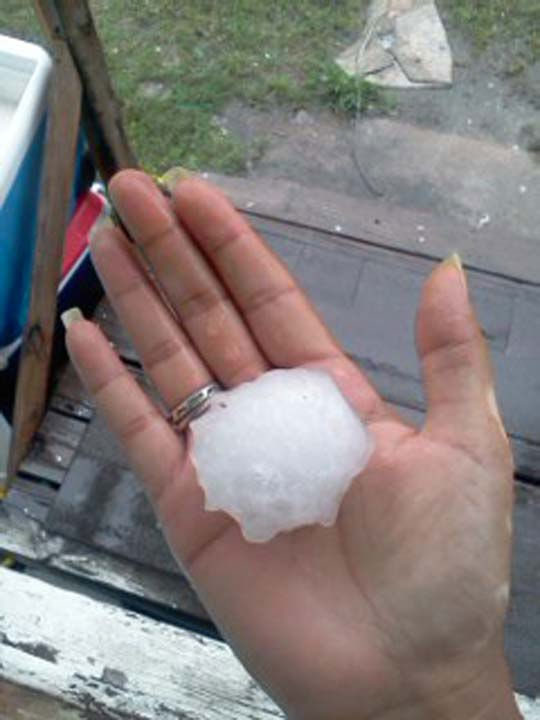 This is a photo of hail that fell on Wednesday in parts of the viewing area.  It was sent to us by a viewer through our iWitness Reports.  If you have hail photos or videos, email them to us at news@abc13.com or upload it here. <span class=meta>(Photo&#47;iWitness Reports)</span>