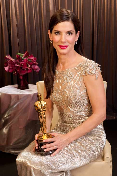 Best Actress Sandra Bullock backstage during the...