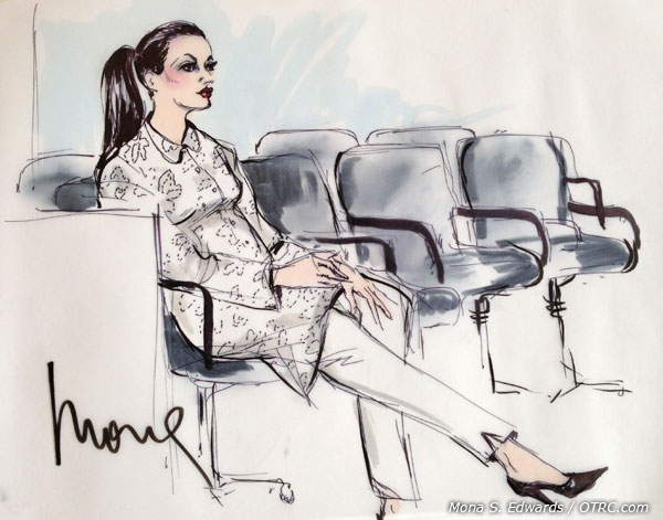 Kim Kardashian is seen in this courtroom sketch at a divorce settlement hearing on April 12, 2013. - Provided courtesy of Mona S. Edwards / OTRC