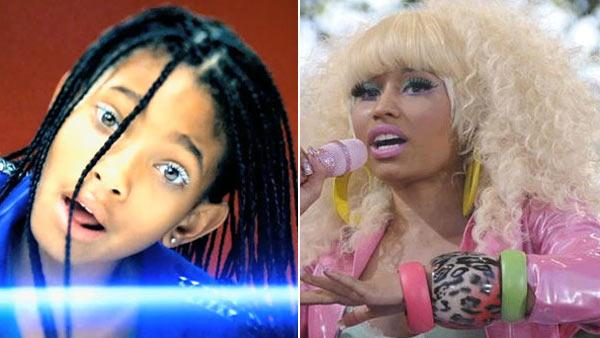 Willow Smith appears in her 2010 music video for Whip My Hair. / Nicki Minaj performs on Good Morning America on ABC on Friday, Aug. 5, 2011. - Provided courtesy of 2010 Roc Nation, LLC / Columbia Records / ABC