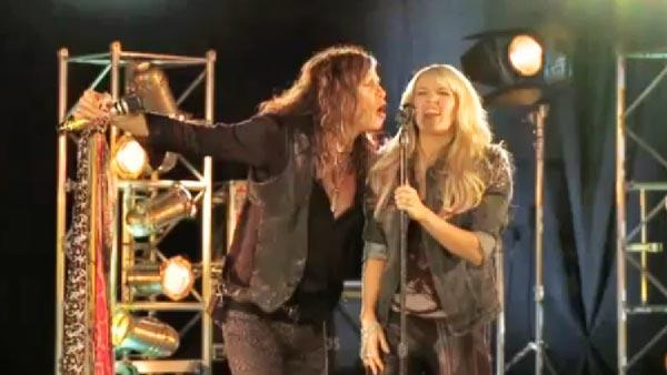 Carrie Underwood and Steven Tyler appear in a promo for CMTs Crossroads. - Provided courtesy of CMT