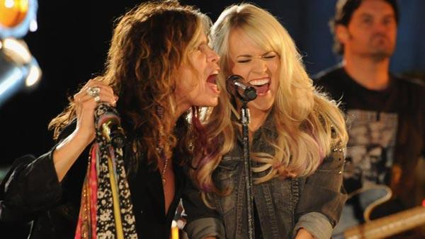 Carrie Underwood and Steven Tyler appear in a still from CMTs Crossroads. - Provided courtesy of Facebook.com/CMT