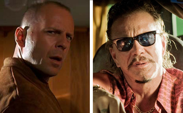 Bruce Willis (left) is pictured in a scene from 'Pulp Fiction.'  Mickey Rourke (right) is pictured in a scene from 'The Informers.'