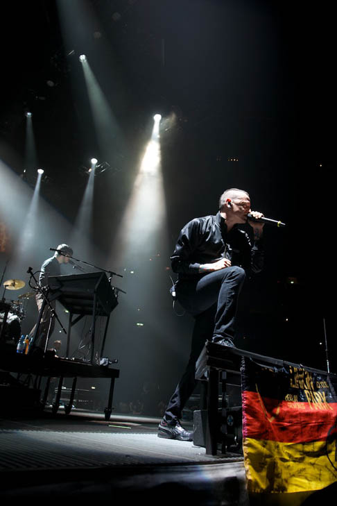 Chester Bennington turns 36 on March 20, 2012.  The musician is best known as the lead singer for rock band Linkin Park.  &#40;Pictured: Chester Bennington is pictured in a photo of a live performance of Linkin Park during their world tour, A Thousand Suns.&#41; <span class=meta>(linkinpark.com)</span>