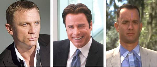"<div class=""meta ""><span class=""caption-text "">John Travolta turned down two major movie roles.  One was the lead role in 'Forrest Gump,' which was later played by Tom Hanks (Bill Murray and Chevy Chase also turned down the part).  The other role Travolta turned away was James Bond in 'Casino Royale,' which was fulfilled by Daniel Craig.  Travolta should play roles where he can bust out some awesome dance moves, anyway.  Pictured:  Daniel Craig (left) appears as James Bond in 'Casino Royale.'  John Travolta (center) appears in a scene from 'Old Dogs.'  Tom Hanks (right) appears in a scene from 'Forrest Gump.' (Metro-Goldwyn-Mayer (MGM) 