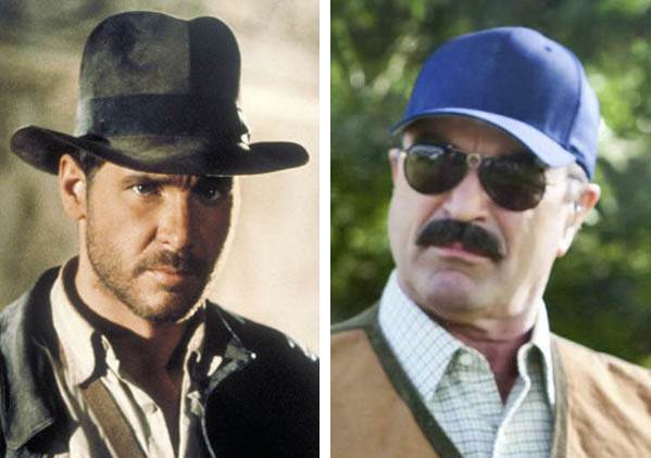 Harrison Ford (left) is pictured in a scene from 'Raiders of the Lost Ark.'  Tom Selleck (right) appears in a scene from 'Killers.'