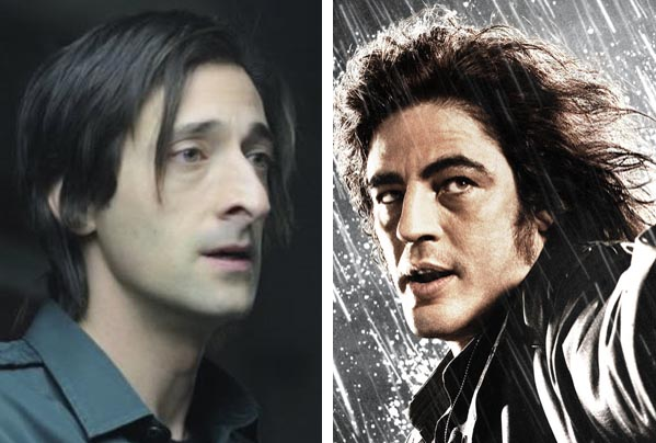 Adrien Brody (left) appears in a scene from 'Splice.'  Benicio Del Toro (right) appears as Jackie Boy in 'Sin City.'