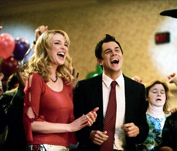 Johnny Knoxville is pictured with Katherine Heigl in a scene from 'The Ringer.'