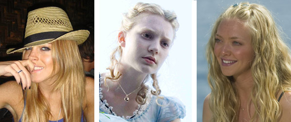 Lindsay Lohan (left) appears in a photo from her Myspace page.   Mia Wasikowska (center) appears in a scene from 'Alice in Wonderland.'  Amanda Seyfried (right) appears in a scene from 'Mamma Mia.'