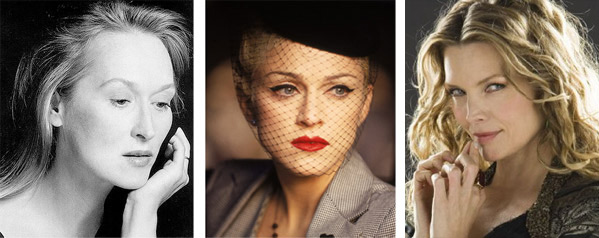 Meryl Streep (left) appears in a photo from her Facebook page. Madonna (center) appears in a scene from 'Evita.' Michelle Pfeiffer (right) appears in a promotional photo for the 2007 movie 'Stardust.'