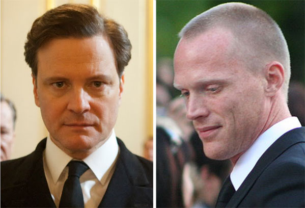 Colin Firth (left) appears in a scene from 'The King's Speech.'  Paul Bettany (right) appears in a photo taken at the Toronto International Film Festival in 2009.