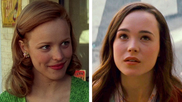 Rachel McAdams (left) appears in a scene from 'The Notebook.'  Ellen Page (right) appears as Ariadne in the film 'Inception.'