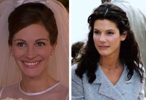Julia Roberts (left) appears in a scene from 'Runaway Bride.'  Sandra Bullock (right) at the 1996 Cannes Film Festival.