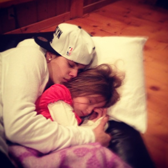 Justin Bieber shared this Instagram photo of him and little sister Jazmyn on Dec. 23, 2012, Tweeting: 'With my luv.'