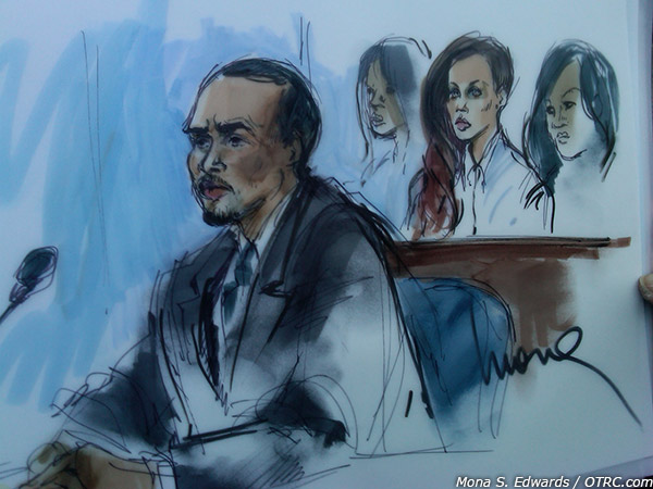 Chris Brown is seen in this courtroom sketch at a probation hearing on Feb. 6, 2013. Rihanna is pictured among the spectators. - Provided courtesy of Mona S. Edwards / OTRC