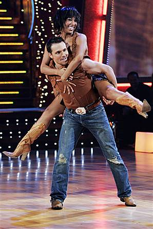 Cheryl Burke and Drew Lachey do their 'Save a Horse Ride a Cowboy' dance on 'Dancing With the Stars' in February 2006.