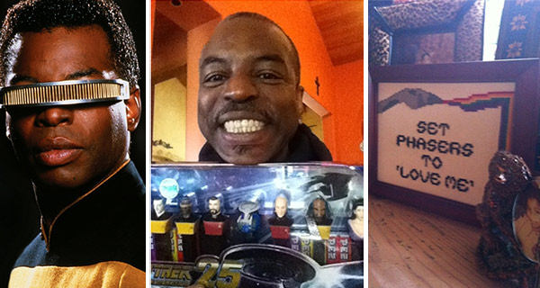 LeVar Burton, who played Geordi La Forge on &#39;Star Trek: The Next Generation&#39; in the 1980s and 1990s as well as in the movies inspired by the hit series, shared these photos on Dec. 25, 2012.  &#39;Merry Christmas to me...!!!&#39; he Tweeted, alongside a photo of a framed needlework piece of a &#39;Star Trek&#39; phaser firing a rainbow with the words &#39;Set phasers to &#39;love me.&#39;  &#39;So happy right now!!!! #bydhttmwfi #notevenkidding,&#39; Burton added, alongside a photo of him holding a box of &#39;Star Trek: The Next Generation&#39; PEZ dispensers.  &#39;Bydhttmwfi&#39; is a hashtag the actor uses that stands for &#39;But you don&#39;t have to take my word for it.&#39;  <span class=meta>( Paramount Television &#47; moby.to&#47;638ew9 &#47; moby.to&#47;hu6xhx &#47; twitter.com&#47;levarburton)</span>
