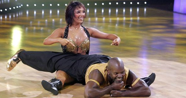 Cheryl Burke and Emmitt Smith dance on 'Dancing With the Stars' in 2006.