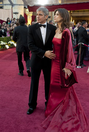 George Clooney and Elisabetta Canalis on the red...