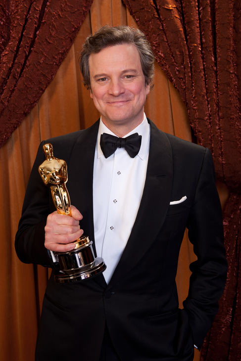 Best Actor Colin Firth poses backstage during...