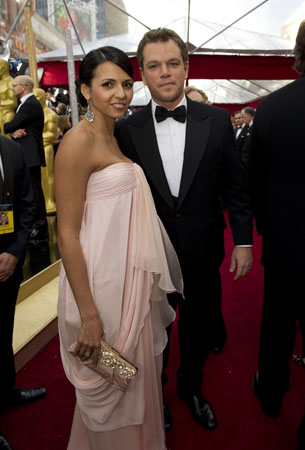 "<div class=""meta ""><span class=""caption-text "">Luciana Barroso and Matt Damon, Academy Award nominee for Best Supporting Actor for his performance in 'Invictus,' arrive at the 82nd Annual Academy Awards at the Kodak Theatre in Hollywood, CA, on Sunday, March 7, 2010. (Richard Harbaugh / ©A.M.P.A.S.)</span></div>"