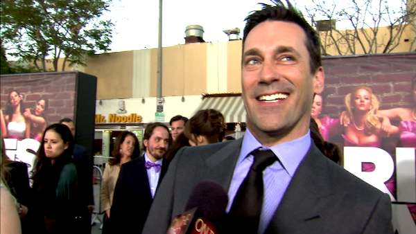 Jon Hamm talks to OnTheRedCarpet.com at the April 2011 premiere of the movie 'Bridesmaids.'