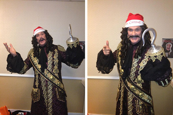 David Hasselhoff, who is starring in a pantomime of 'Peter Pan' in England, shared these photos on Dec. 24, 2012, Tweeting: 'Ho Ho Hoff the Hook wishing you and your family a Happy Christmas!!'
