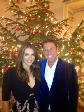 Elizabeth Hurley, shared this photo of herself with fiance Shane Warne on Dec. 25, 2012.