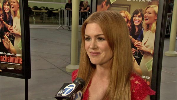 Isla Fisher talks to OTRC.com at the 'Bachelorette' premiere in Los Angeles on August 23, 2012.
