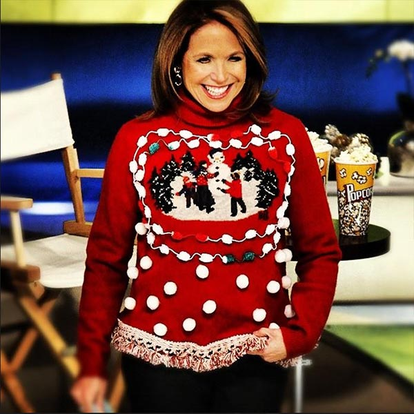 Talk show host Katie Couric shared this photo on Dec. 24, 2012, Tweeting: 'I wear my best Christmas sweater today on @KatieSh
